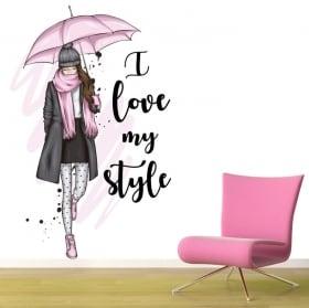 Vinyles silhouette de femme phrase i love my style