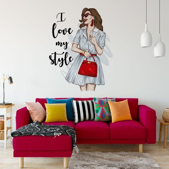 Vinyles et autocollants femme avec phrase i love my style