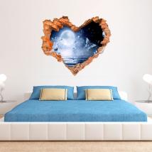 Papillons et lune en vinyle 3d