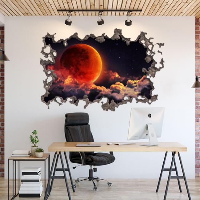 Autocollants lune dans l'espace