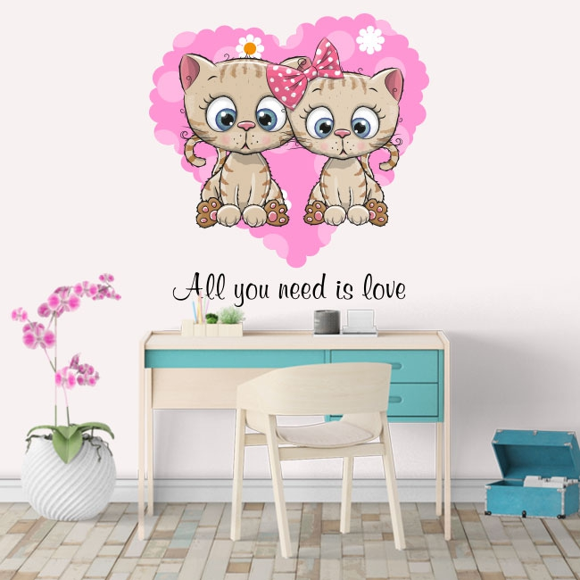 Vinyle et autocollants les chats all you need is love