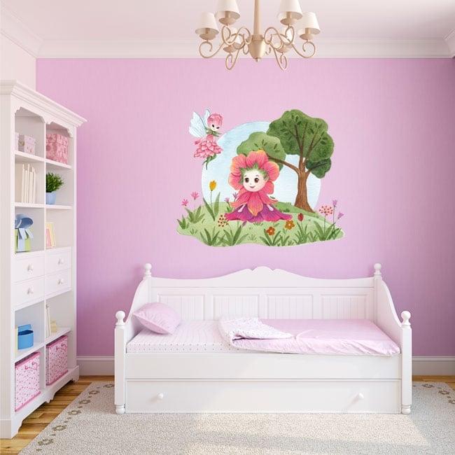 Vinyles et autocollants pour enfants aquarelle fées des fleurs