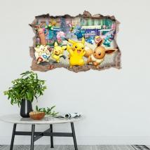 Vinyles et autocollants trou pokémon 3d