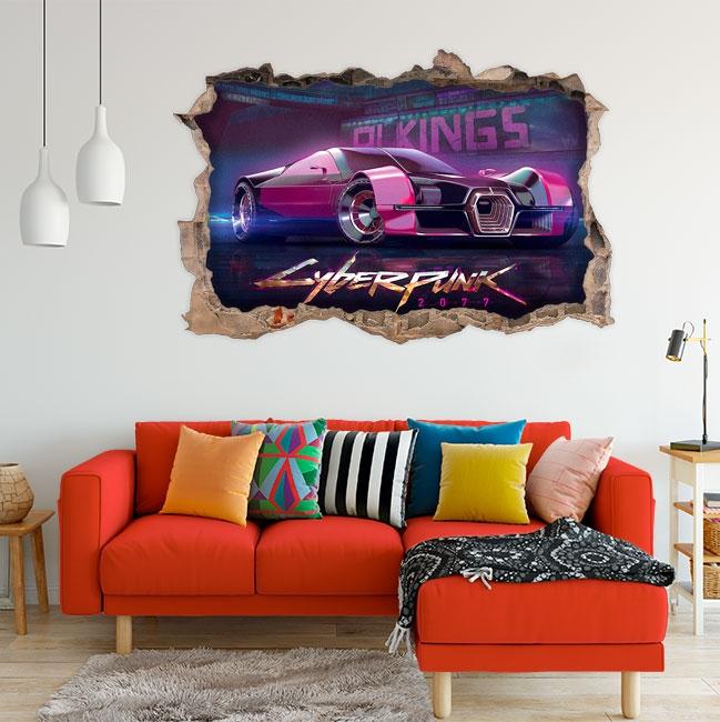 Vinyles décoratifs de voiture 3d cyberpunk