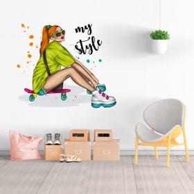 Vinyles et stickers femme patineuse mon style
