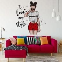 Autocollants en vinyle silhouette de femme j'aime mon style