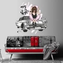 Vinyles décoratifs femme et voiture rétro mon style