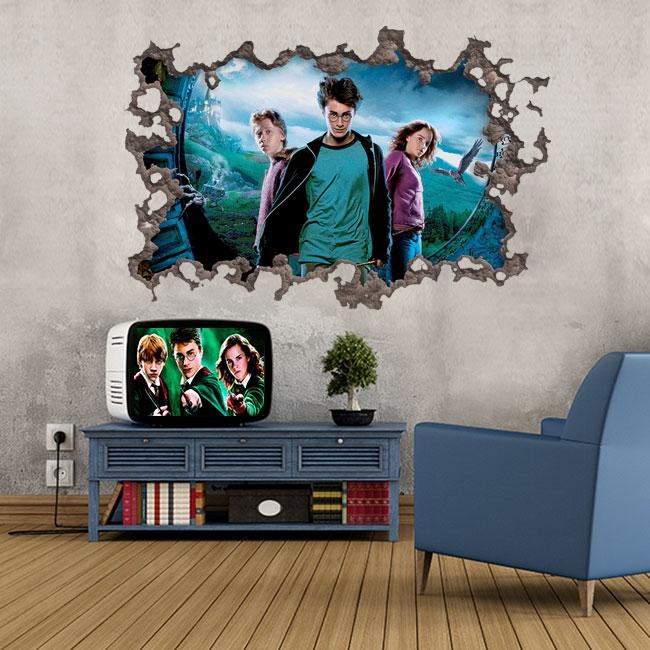 Sticker mural film harry potter modèle 3d