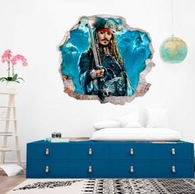 Vinyles et autocollants 3d pirates des caraïbes