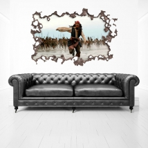 Vinyle 3d trou mural pirates des caraïbes