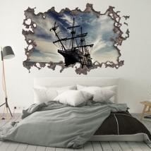 Vinyles 3d mur de trou bateau pirates des caraïbes