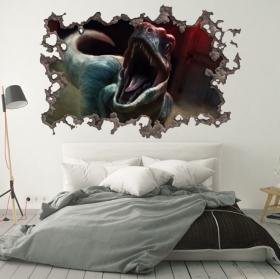Vinyles 3d mur de trou dinosaure parc jurassique
