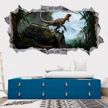 Vinyles décoratifs 3d dinosaure parc jurassique
