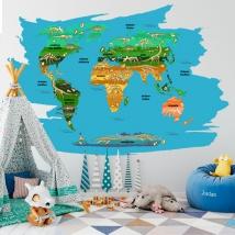 Vinyles pour enfants ou jeunes carte du monde dinosaures