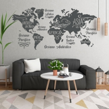 Vinyles carte du monde océans et continents
