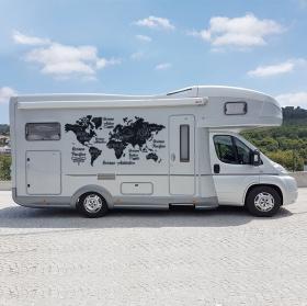 Autocollants caravanes carte du monde océans et continents