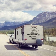 Autocollants caravanes expression anglaise destination camping