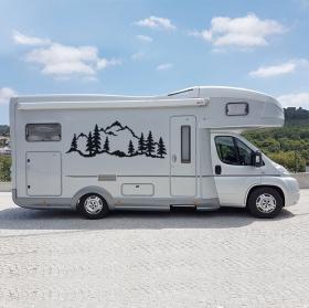 Vinyles et autocollants camping-cars paysage avec montagnes