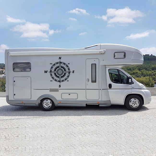 Vinyles décoratifs camping-cars rose des vents