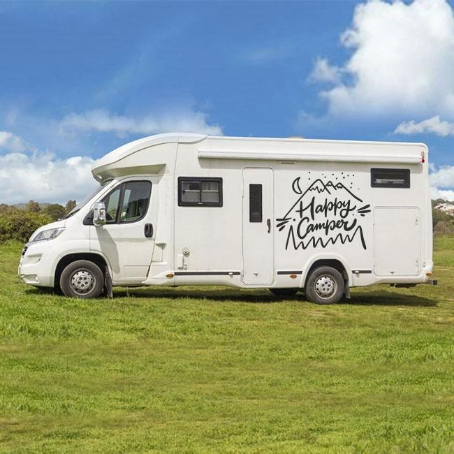 Vinyle et autocollants camping-car phrase happy camper