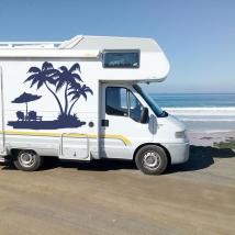 Vinyles décoratifs camping-cars palmiers sur la plage