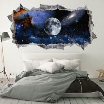Vinyle et autocollants 3d lune dans l'espace