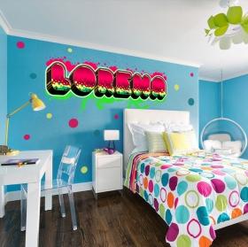 Vinyles décoratifs noms personnalisés avec effet graffiti