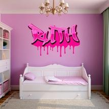 Vinyles adhésifs graffiti avec des noms personnalisés