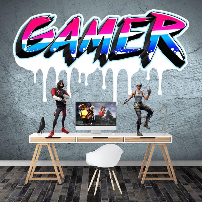 Vinyles et autocollants textes personnalisés gamer effet graffiti