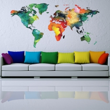 Vinyles décoratifs et autocollants carte du monde en couleur
