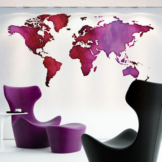 Vinyles décoratifs carte du monde en couleur
