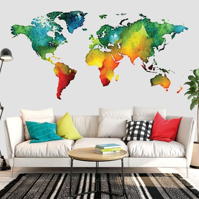 Vinyles carte du monde en couleur
