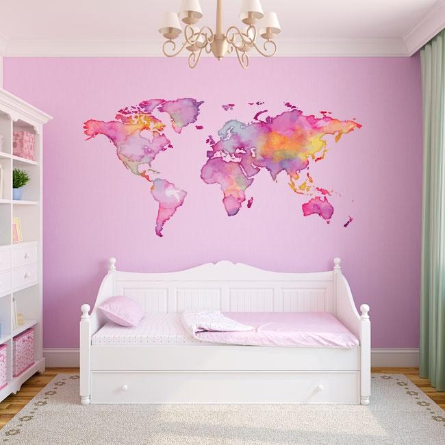 Vinyles adhésifs carte du monde en couleur