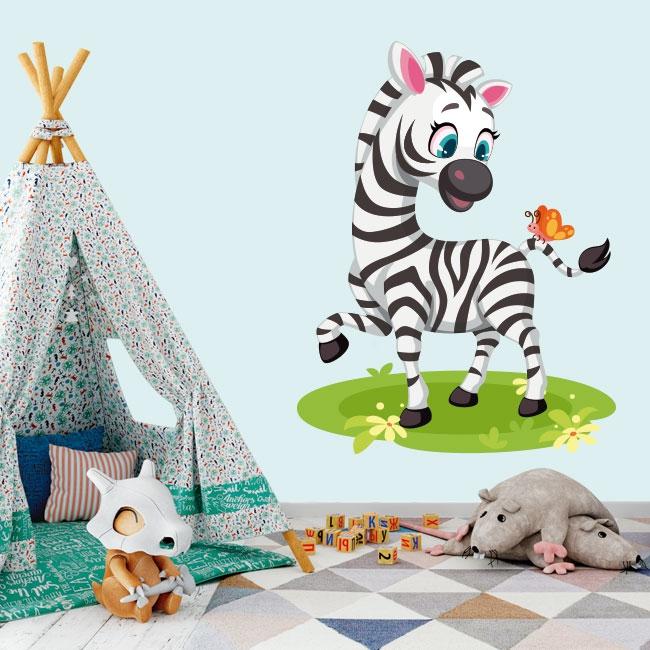 Stickers muraux pour enfants ou bébés zèbre et papillon