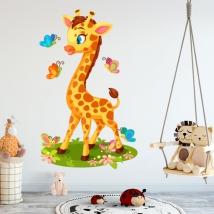 Vinyle pour enfants ou bébés girafe et papillons