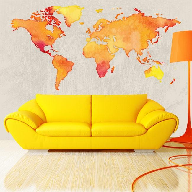 Vinyles et autocollants carte du monde en couleur