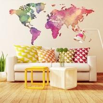 Vinyles adhésifs et autocollants carte du monde en couleur