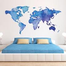 Vinile décoratif carte du monde en couleur