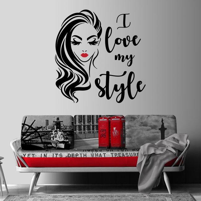 Vinyles décoratifs et autocollants visage de femme i love my style