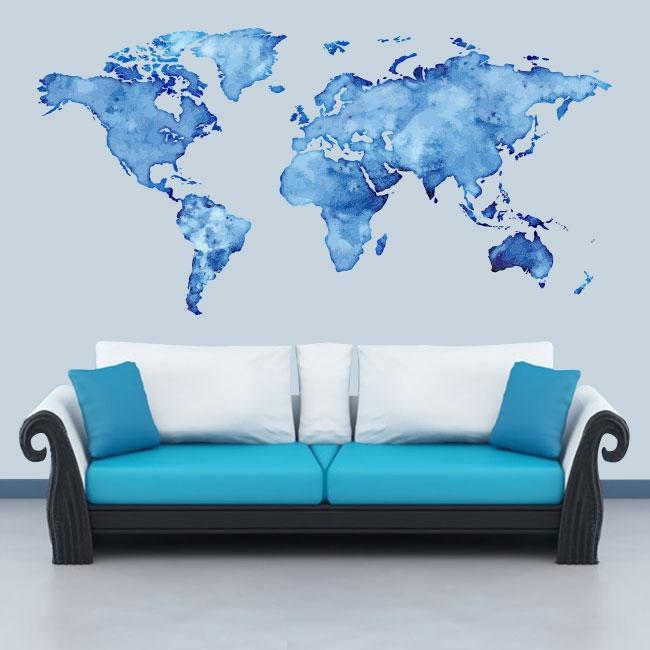 Vinyle adhésif carte du monde en couleur