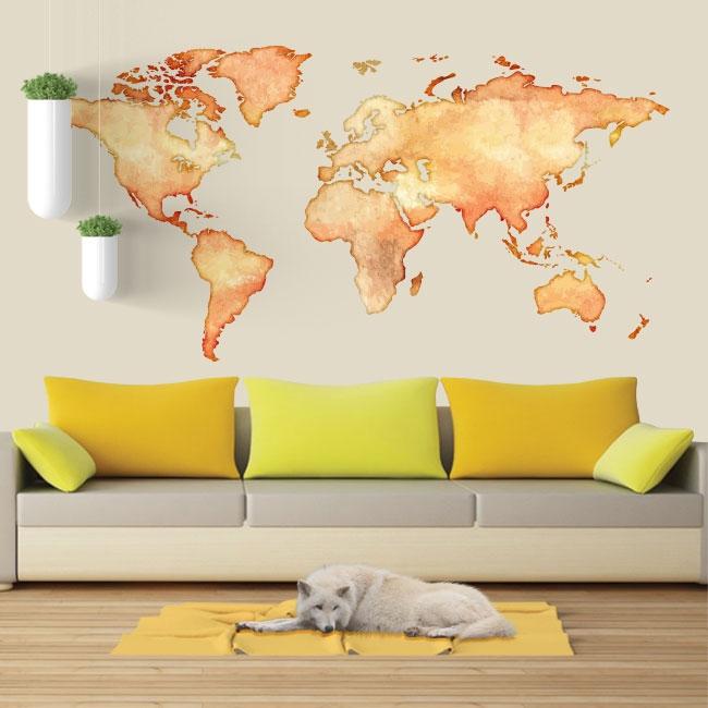 Vinyles et autocollants carte du monde colorée