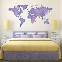 Vinyles carte du monde couleur