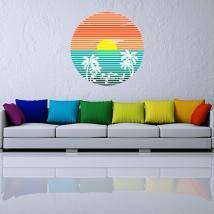 Vinyles décoratifs et autocollants coucher de soleil sur la plage