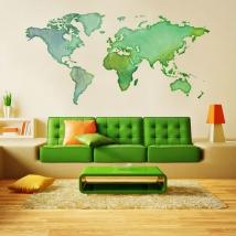 Vinyles adhésifs carte du monde couleurs