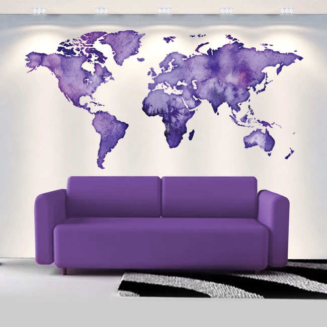 Vinyles décoratifs carte du monde couleur