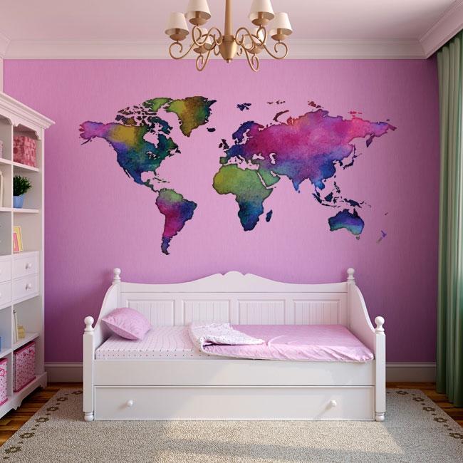 Sticker mural carte du monde coloré