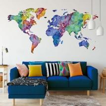 Sticker mural carte du monde multicolore