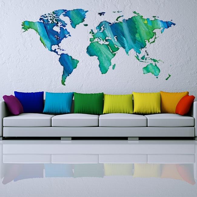 Vinyles et autocollants multicolores de carte du monde