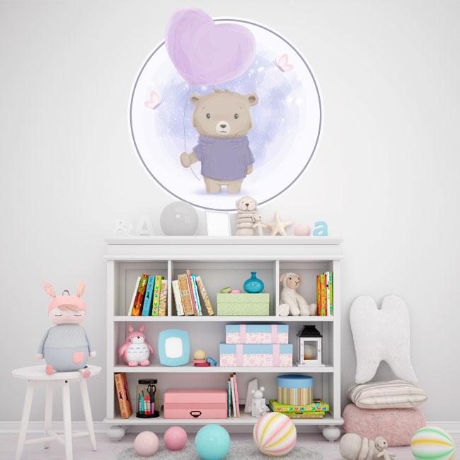 Vinyle pour enfants ou bébés ours avec ballon