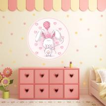 Vinyle pour enfants ou jeunes lapin romantique